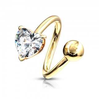 Heart shaped gem gold plated twister