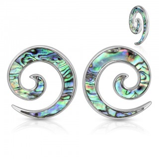 Pair of silver spiral tapers with abalone coloured inlay