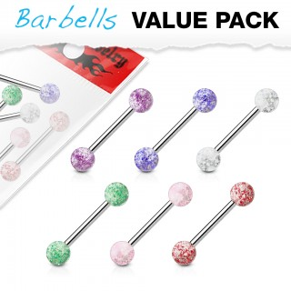 Set van 6 glitterbal barbells