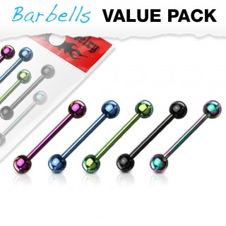 Set van 5 neon titanium plated barbells