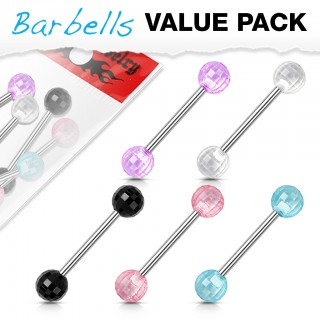 Set of barbells with coloured acrylic disco balls