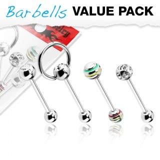 Set of 4 barbells with different ball patterns