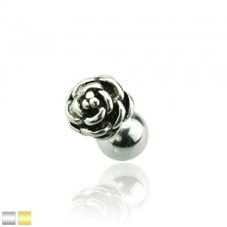 Ear cartilage piercing with vintage flower as top