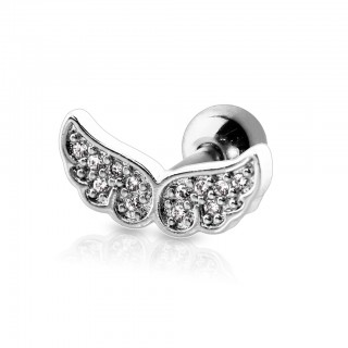 Ear piercing with gem paved coloured angel wings