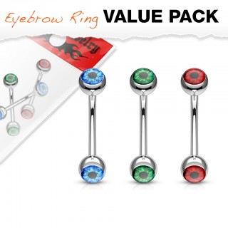 Value pack of eyeball inlaid curved barbell piercings