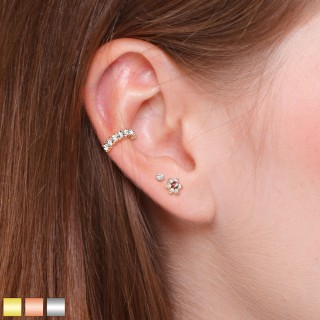 Ear cartilage piercing set with ring and two studs