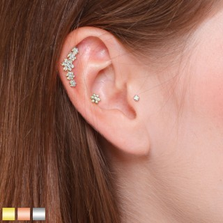 Ear cartilage set with wide stud and 2 small studs