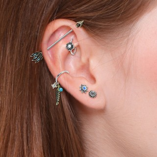 Set of 5 pcs ear cartilage piercings with figurines