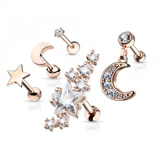 Ear cartilage set with wide stud and 4 smaller studs