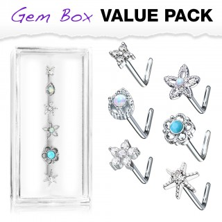 Set with 6 flower nose studs in storage box