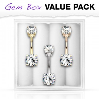 Set of 3 coloured belly bars with prong set gems