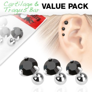 Set of three ear piercings with black round diamonds