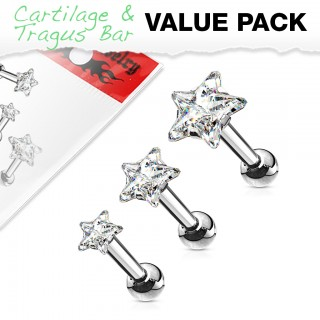 Set of three ear piercings with clear stars