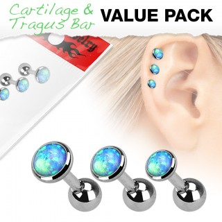 Set of 3 light blue cartilage piercings with opals from different sizes