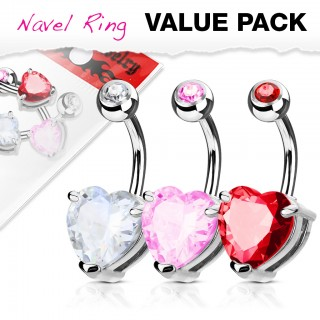 Three belly rings with coloured bejeweled loveheart