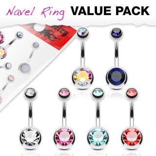 Set silver belly bars with gem in each ball