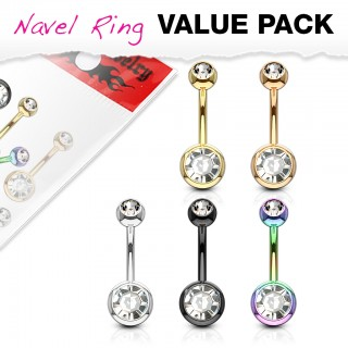 Set coloured belly piercings with gem in each ball