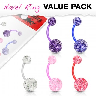 Set coloured bioflex belly bars with glitter