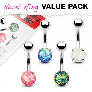 Set belly bars with coloured glitter opal ball