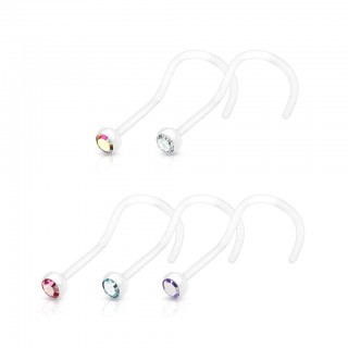 Flexible nose screw piercing with coloured gem multipack - 5 pieces