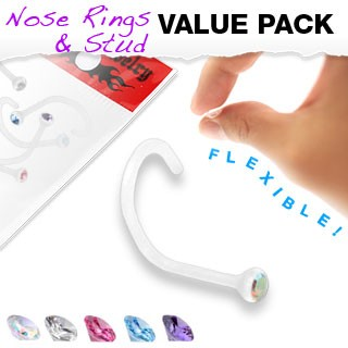 Set of 5 flexible screw nose piercings with colored crystal