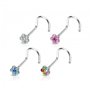 Set of 4 nose screw piercings with crystal flower