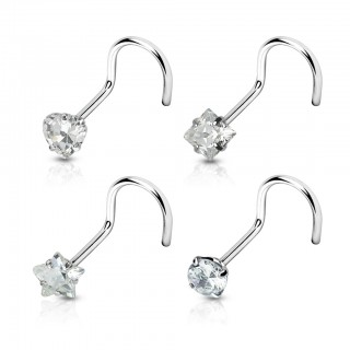Crystal figurine topped nose piercing multipack - 4 pieces