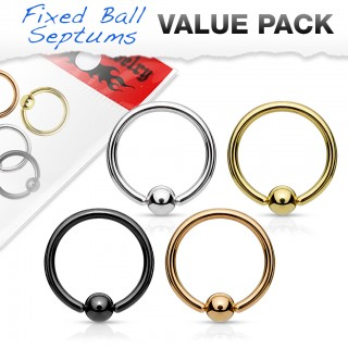 Set of coloured ball closure rings with fixed ball