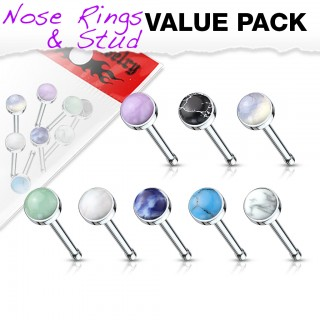 Set of 8 nose bones with assorted jewel top
