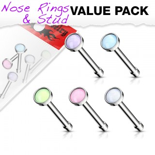 Set of nose bones with coloured illuminating stone top