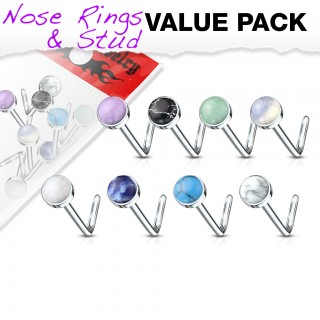 Set of 8 nose studs with assorted jewel top