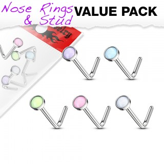 Set of nose studs with coloured illuminating stone top
