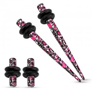 Ear stretching set inc. purple and pink paint splash plugs