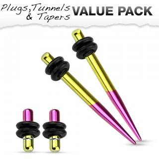 Titanium plated stretch set inc. plugs met metallic geel and paars
