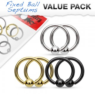 Set of 6 gold plated/titanium plated/steel ball closure rings