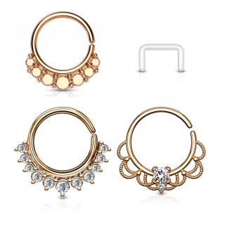Set with 3 coloured septum rings and retainer