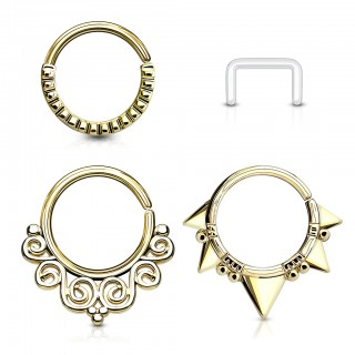 Set with bendable coloured septum rings and retainer