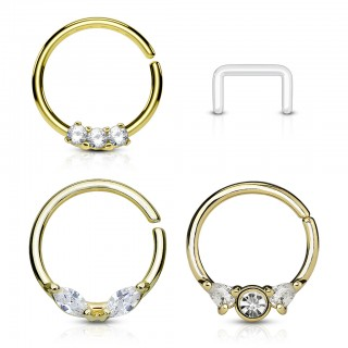 Coloured septum rings set with clear crystals and retainer