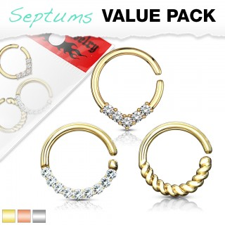Assorted multipurpose hooped piercings with clear crystals