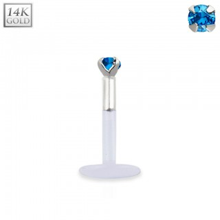 Bioflex labret with 14kt. white gold top and coloured crystal